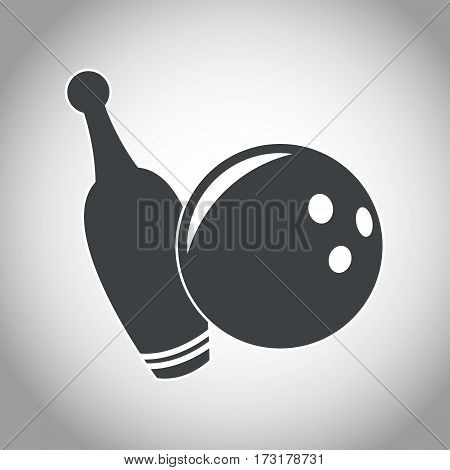 ball and pine bowling black and white vector illustration eps 10