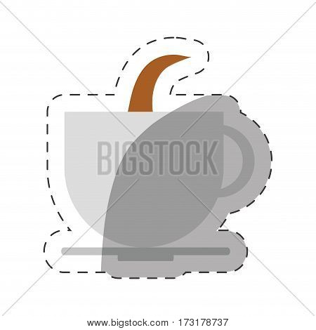 coffee cup beverage hot cut line vector illustration eps 10