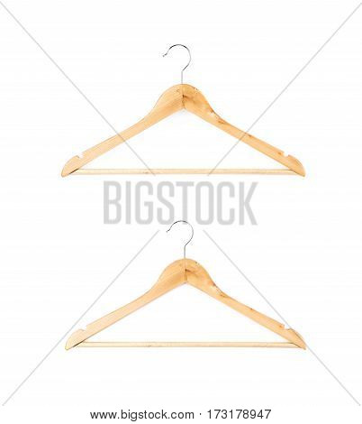 Single white wooden hanger isolated over the white background, set of two different foreshortenings