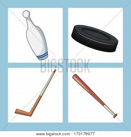 set sport equipment icon vector illustration eps 10