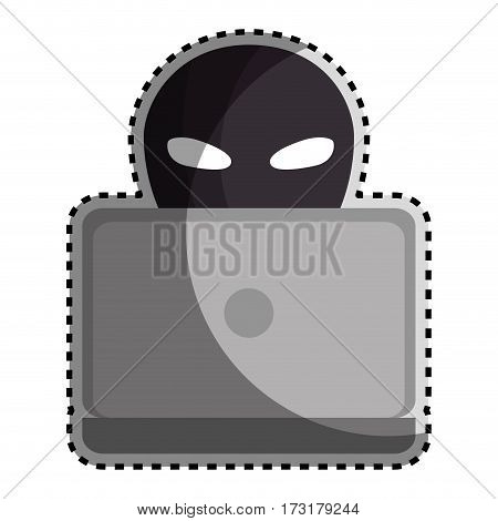 sticker color silhouette with criminal hacker and laptop vector illustration