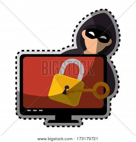 sticker color silhouette with hacker and lcd monitor with padlock vector illustration