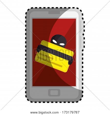 sticker color silhouette with stealing credit card in cell phone vector illustration