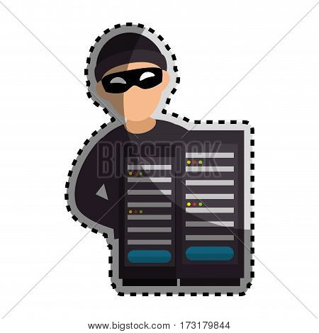 sticker color silhouette with hacker and tower server vector illustration