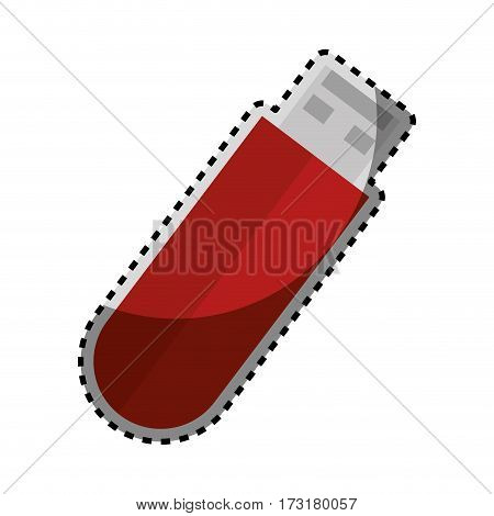 sticker colorful silhouette with usb stick vector illustration