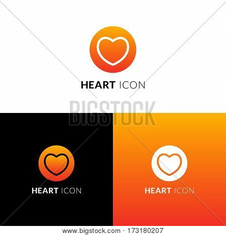Heart vector icon, logo. Decorative love symbol in circle. Like line sign with trend orange-yellow gradient color on white and black background. Emblem for template design.