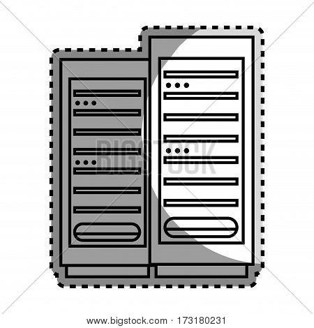 monochrome contour sticker with tower server vector illustration