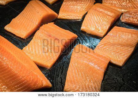 Closeup split salmon inside super market. select focus