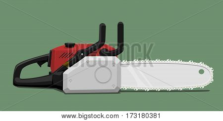 Isolated chain saws on green background. Heavy duty equipment