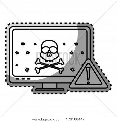 monochrome contour sticker of lcd monitor with virus on screen vector illustration