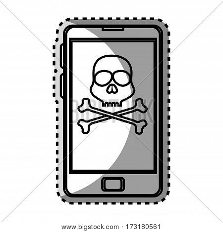 monochrome contour sticker with cell phone with virus skull and bones vector illustration