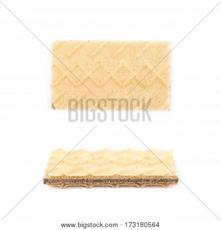 Single chocolate wafer isolated over the white background, set of two different foreshortenings