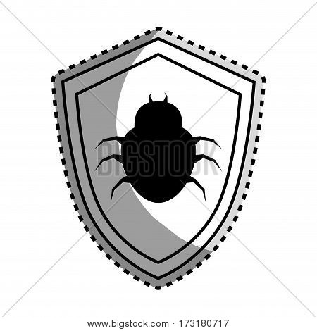monochrome contour sticker of shield with beetle virus vector illustration