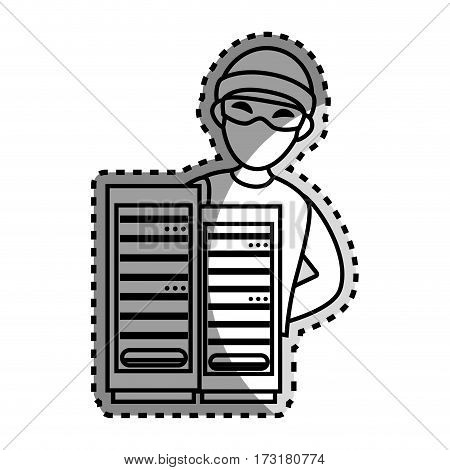 monochrome contour sticker with hacker and tower server vector illustration
