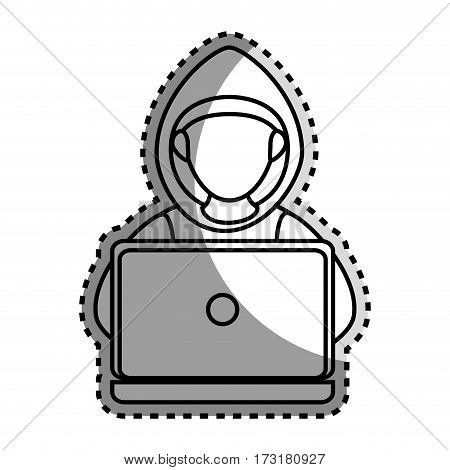 monochrome contour sticker with hacker faceless and laptop vector illustration