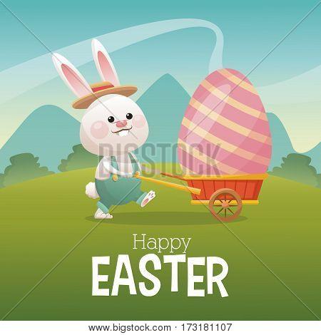 happy easter card bunny carrying egg landscape vector illustration eps 10