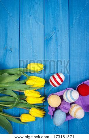 Bouquet Of Fresh Tulips And Easter Eggs Wrapped Woolen String, Easter Decoration, Copy Space For Tex