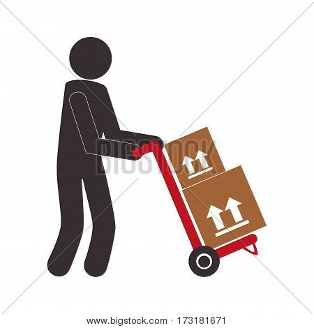 color pictogram with messenger and hand truck with boxes vector illustration