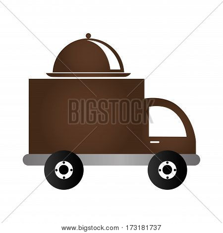 color silhouette with food truck vector illustration