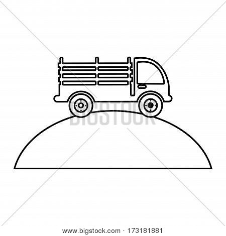 monochrome contour with stakes truck over the mountain vector illustration