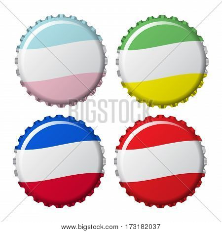 bottle caps in colors isolated on white background vector illustration