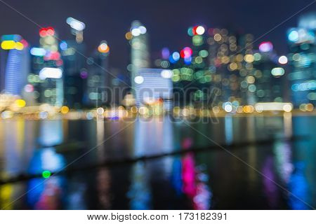 City blur light Singapore central business downtown night view abstract background
