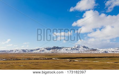 Iceland natural snow covered mountain in winter season natural landscape background