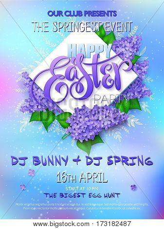 Vector happy easter party poster with lettering, lilac flowers, doodle branches and rhombus.