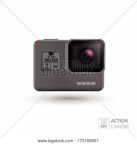 Action extreme camera vector illustration Eps symbol. New model photo, video camera equipment for filming extreme sports. Realistic vector illustration isolated on white background.