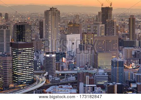 Osaka city central business downtown aerial view Japan cityscape background