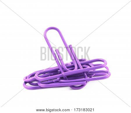 Pile of office clips isolated over the white background