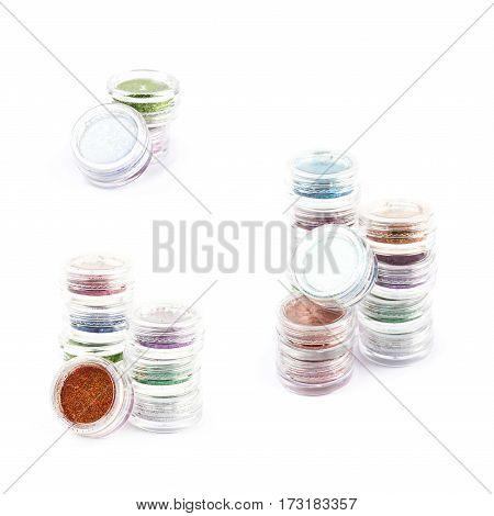 Pile of round decoration sequin boxes isolated over the white background, set of three different foreshortenings
