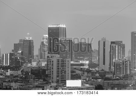 Black and White office building night view cityscape downtown background
