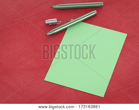 Green Blank Paper With Green Pens