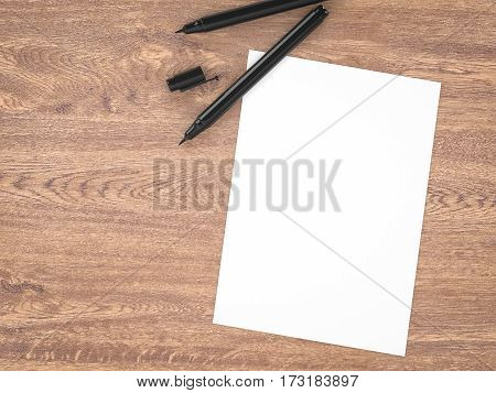 3d rendering white blank paper with black pens