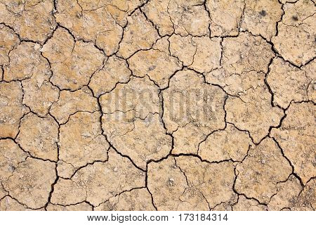 Cracked dry brown soil background global warming effect