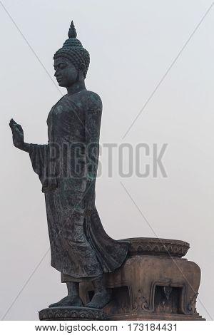Stand buddha on White background, asian landscape background