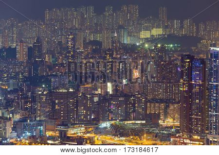 Night view Hong Kong residence apartment building cityscape background