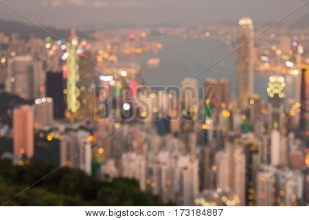 Abstract blur light Hong Kong city office building aerial view abstract background