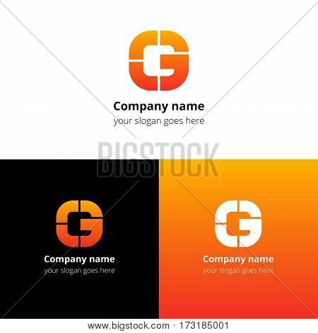 Letter G logo icon flat and vector design template. Monogram G. Logotype G with orange-red gradient color. Creative vision concept logo, elements, sign, symbol for card, brand, banners.