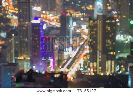City blur light abstract background aerial view night view