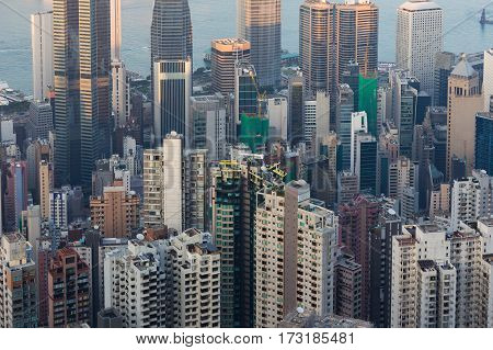Close up aerial view Hong Kong office building central business downtown