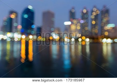 Office building blurred light and reflection night view abstract background