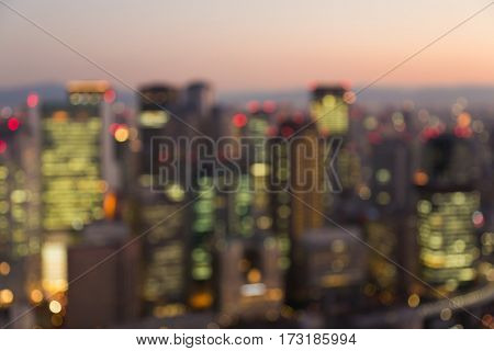 Night blurred light cityscape business downtown Osaka city Japan