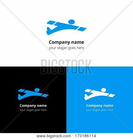 Man,user,human in fast fly airplane logo, icon, sign, emblem vector template. Abstract symbol and button with blue trend color for air, fly, flight, aviation, airshow school or service company.
