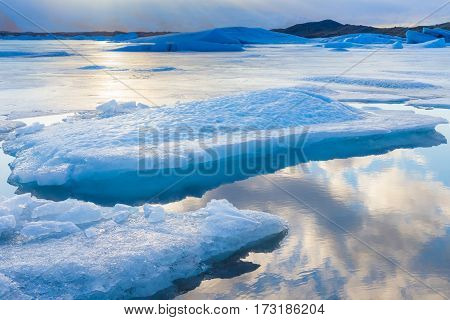Ice lake in winter season Iceland natural lanscape background