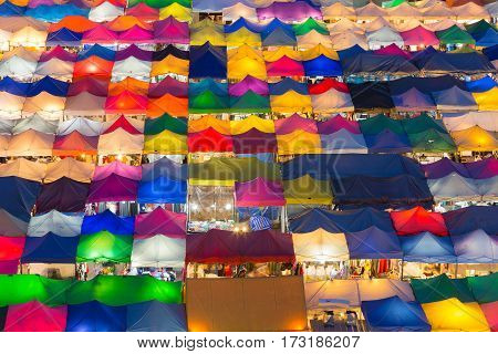 Aerial view multiple colour night market abstract background