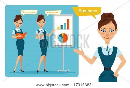 Set of business woman characters poses. Girl with folder. Girl shows presentation and girl points to side.
