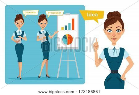 Set of business woman characters poses. Girl has idea . Girl shows presentation and girl calculates result