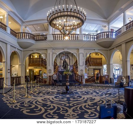 LAKE LOUISE, CANADA - FEB 19: Interior lobby of the Chateau Lake Louise in Banff National Park on February 19, 2017 in Alberta, Canada. Chateau Lake Louise is a famous summer and winter destination.
